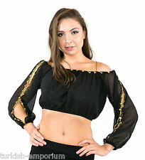 Long Sleeved Chiffon Belly Dance Coin Top Gypsy Blouse Shirt One Size NEW UK