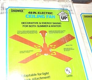 """48"""" CAST IRON Brown 4-Blade CEILING FAN Chadwick Miller VINTAGE 94556 NEW"""