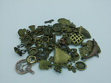 DIY 50g Lot Vintage Antique Brass Charm Pendant Mix Beads Connector Connector