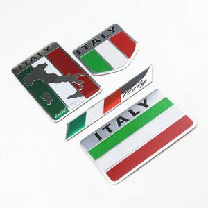 4pcs Aluminum Italy Italian Flag Car Accessories Emblems Badges Stickers Decals