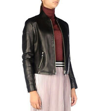 KARL LAGERFELD Women's Black Bomber Leather Lambskin Jacket coat IT42 UK10 £650