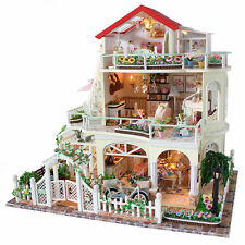 DIY Miniature Wooden Doll House Garden Villa LED Kits Children Puzzle Xmas Gift