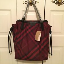 New with Tag Burberry Packable Nylon Check Tote Bag
