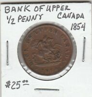 *(U) Token - Canada - Bank of Upper Canada - 1854 - Half Penny