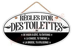 """Plaque de porte """"Règles d'or des Toilettes"""" décoration WC humoristique neuf"""