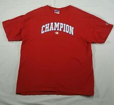 Champion Red Graphic print T Shirt Large Crewneck short sleeve SPELL OUT VTG