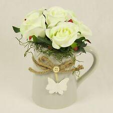 Silk Cream Roses in Ceramic Jug, Artificial Flower Handmade Arrangement in Vase