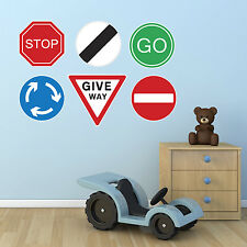 Road Sign Stickers - Set of 6 Road Sign Wall Stickers - Child's Bedroom Stickers