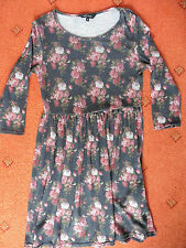 Women's New Look Black 3/4 sleeve Floral Skater Dress , Size 8