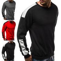 Men Casual Autumn Winter Splicing Cashmere Top Blouse Long Sleeve O-Neck T-Shirt
