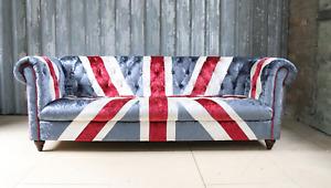 UNION JACK FLAG CHESTERFIELD TUFTED 3 SEATER PATCHWORK VELVET GREAT BRITISH FLAG