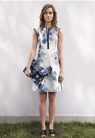 Tory Burch Edith Floral Sleeveless A-Line Shift Dress Watercolor Iris S Size 4