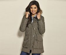 LADIES BRAVE SOUL MILITARY PARKA - UK SIZE 10 (SMALL) - KHAKI GREEN - BRAND NEW.