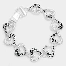 silver heart vine filigree magnetic closure bracelet fashion jewelry e 5