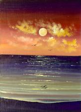 ACEO Original Acrylic Painting Sunset Waves Ocean Beach Birds Miniature HYMES