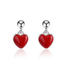 Ladies 925 Sterling Silver Red Heart Ear Stud Earrings Romantic Jewelry Gift