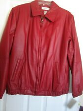 Preston & York Medium Red Leather Jacket Genuine Leather Coat  Retro Style NWT