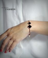 Bracelet Golden Pink stainless steel Open Lucky Flower Clover Agate Black