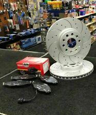 FOR VW GOLF R MK7 BRAKE DISC CROSS DRILLED GROOVED BRAKE PAD FRONT SET