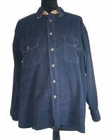 CLAYBROOKE OUTDOORS Plaid Shirt Men's XL Long Sleeve Corduroy Vintage  Navy Blue