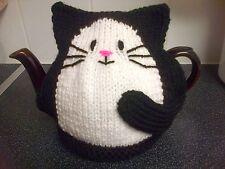 Cat Tea Cosy tricoté à la Main Neuf Noir Grand Pour 2 Pt Pot