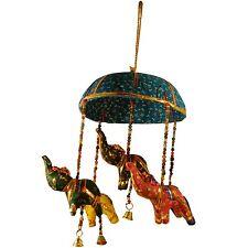 Elefanten-Mobile mit Schirm türkis Glöckchen Perlen Deko Stofftier Kunsthandwerk