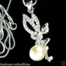 w Swarovski Crystal ~Pearl Tinkerbell~ Tinker Bell Fairy Angel Pendant Necklace