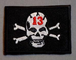 13 skull patch badge cross bones pirate motorcycle biker chopper hot rod