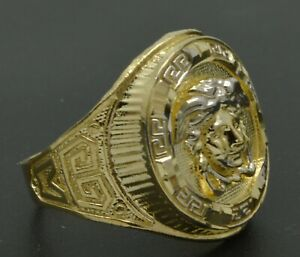 Real Solid 10K Yellow Gold Mens Medusa Head  Ring 20mm ALL Sizes