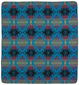 "Turquoise Northwest King Bedspread Wool Blend Blanket Throw Luxury 114"" x 96""Joy"