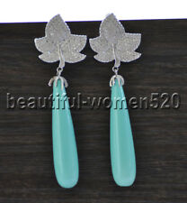 Z9760 40mm Turquoise Drop Shell Pearl Earring Gold-Plating Maple-Leaf CZ