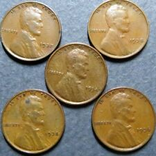 1934-1938, Vintage Lot of  5  LINCOLN WHEAT CENTS, Fine Circulated, NICE Coins