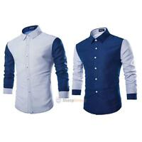 Luxury Men's Long Sleeve Fashion Casual Shirt Slim Fit Stylish Dress Shirts Tops
