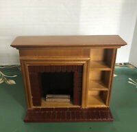 Vtg Doll House Miniature Doll House Fireplace Furniture Mantel Brick Wood EUC