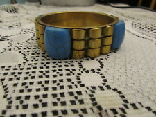 Brass Tone & Plastic Blue Stone Look Bangle - 2.5cm wide - 6.6cm diameter