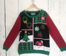 New Women's Ugly Christmas light up Sweater Size XL Red Green black