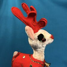 Vintage Christmas Red Felt Reindeer Decoration Ornament