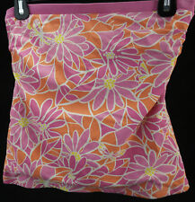 Lilly Pulitzer Swim Size 4 Orange Pink Flowers Tankini Top Pink Trim