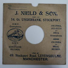 "78rpm 10"" card gramophone record sleeve / cover J NIELD & SON , MANCHESTER"
