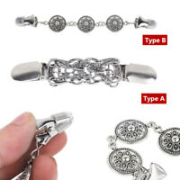 Retro Womens Sweater Collar Clip Clasps Shirt Dress Cinch Decoration Silver