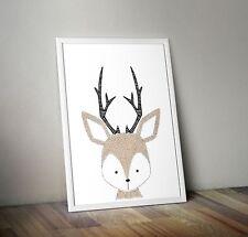 Kunstdruck Poster Tiere Bild Deko Kinderzimmer + Reh +