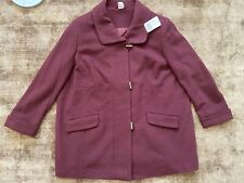 Burgundy Red Woolen & Kashmir Coat Jacket Plus Size 28 NEW