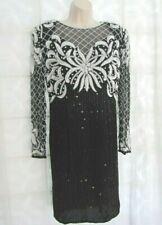 VINTAGE VTG LAURENCE KAZAR BLACK WHITE SILK DRESS BEADED SEQUIN OPEN BACK SIZE M