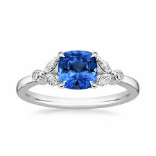 Cushion 1.80 Ct Natural Diamond Blue Sapphire Ring 14K Solid White Gold Ring