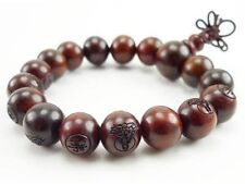 Stretchy Tibetan 17 12mm Red Sandalwood Carved Buddha Prayer Beads Mala Bracelet