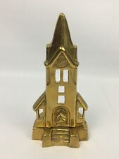 "Solid Brass 6"" CHURCH HOUSE Candle Holder - Religious Spiritual Decor"