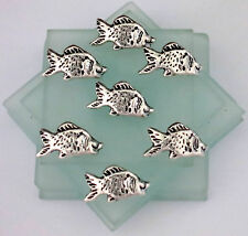 6 Fish Buttons Silver Metal Button with Black Accents Solid Button Goofy Fish
