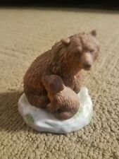 1989 Franklin Mint Grizzly Bear with Cub Figure