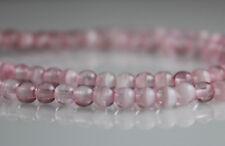 Crystal Pink Swirl - 100 4mm Round Pressed Czech Glass Druk Beads