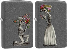 "Zippo Lighter  ""Romantic Skulls"" 2 Lighter Set - New on Ironstone Finish 28987"
